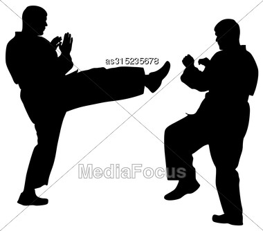 Black Silhouettes Of Karate. Sport Vector Illustration Stock Photo