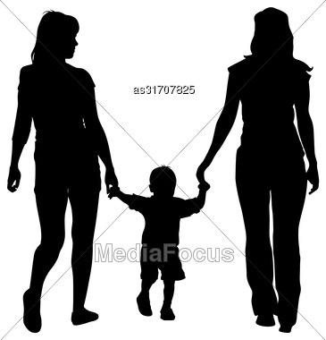 Black Silhouettes Lesbian Couples And Family With Children On White Background. Vector Illustration Stock Photo