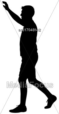 Black Silhouettes Man With Arm Raised. Vector Illustration Stock Photo