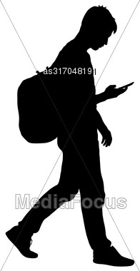 Black Silhouettes Man With Backpack On A Back. Vector Illustration Stock Photo