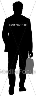 Black Silhouettes Man With A Briefcase On White Background. Vector Illustration Stock Photo