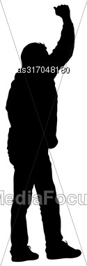 Black Silhouettes Man Lifted His Hands On White Background. Vector Illustration Stock Photo
