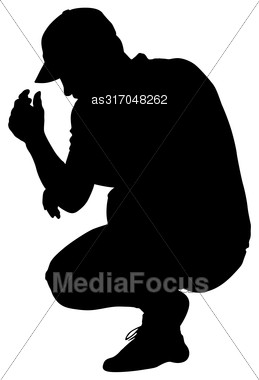 Black Silhouettes Man Sitting On His Haunches. Vector Illustration Stock Photo
