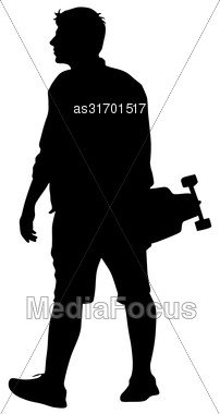 Black Silhouettes Man With Skateboard In Hand On White Background. Vector Illustration Stock Photo