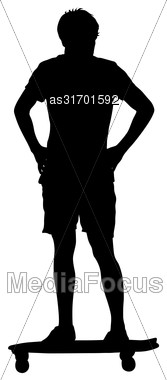 Black Silhouettes Man Standing On A Skateboard White Background. Vector Illustration Stock Photo