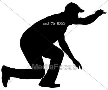 Black Silhouettes Man On White Background. Vector Illustration Stock Photo