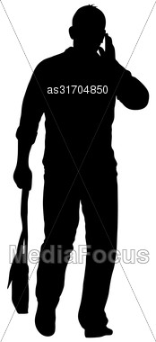 Black Silhouettes Man On White Background. Vector Illustration Stock Photo