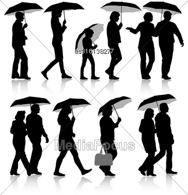 Black Silhouettes Man And Woman Under Umbrella. Vector Illustrations Stock Photo