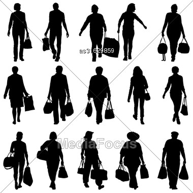 Black Silhouettes Mans And Womans With Bags And Packages On White Background. Vector Illustration Stock Photo