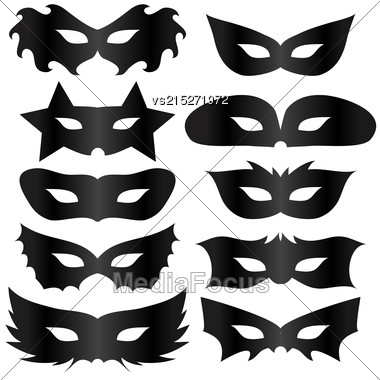 Black Silhouettes Masks Collection Isolated On White Background Stock Photo