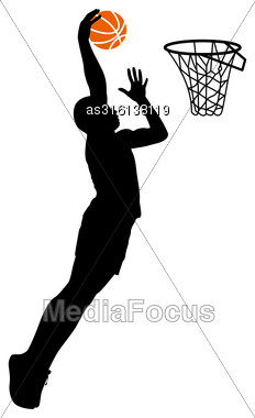 Black Silhouettes Of Men Playing Basketball On A White Background. Vector Illustration Stock Photo