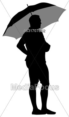 Black Silhouettes Of Men Under The Umbrella Stock Photo