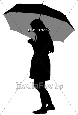 Black Silhouettes Of Women Under The Umbrella Stock Photo