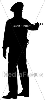 Black Silhouettes Police Officer With A Rod On White Background. Vector Illustration Stock Photo