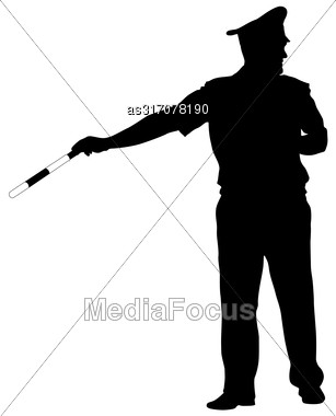 Black Silhouettes Of Police Officer With A Rod On White Background Stock Photo
