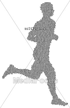 Black Silhouettes Runners Sprint Men On White Background Stock Photo