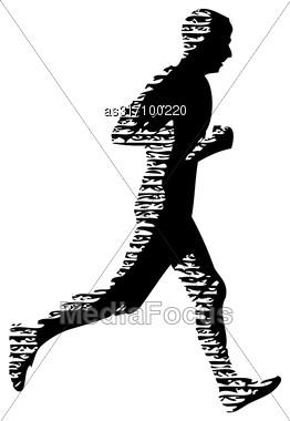 Black Silhouettes Runners Sprint Men On White Background Stock Photo