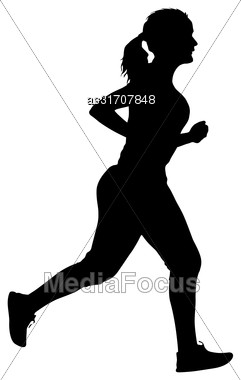 Black Silhouettes Runners Sprint Women On White Background Stock Photo