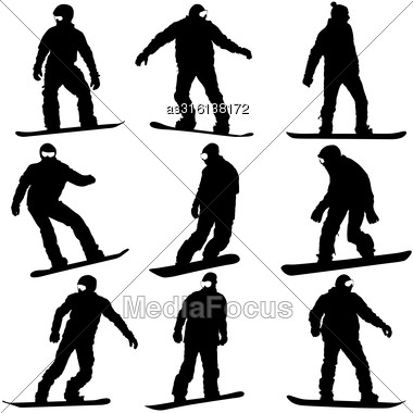 Black Silhouettes Set Snowboarders On White Background. Vector Illustration Stock Photo