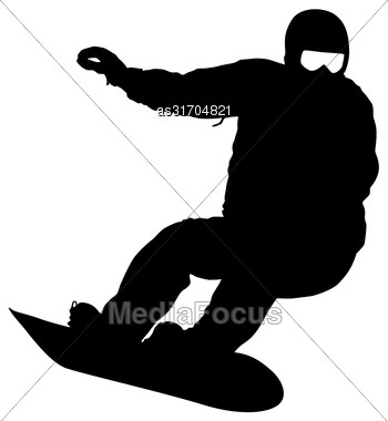 Black Silhouettes Snowboarders On White Background. Vector Illustration Stock Photo