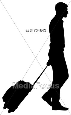 Black Silhouettes Travelers With Suitcases On White Background. Vector Illustration Stock Photo