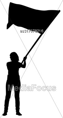 Black Silhouettes Of Woman With Flags On White Background Stock Photo