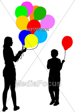 Black Silhouettes Of Woman Gives Child A Balloon On White Background. Vector Illustration Stock Photo