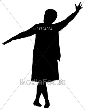 Black Silhouettes Woman Lifted His Hand On White Background. Vector Illustration Stock Photo