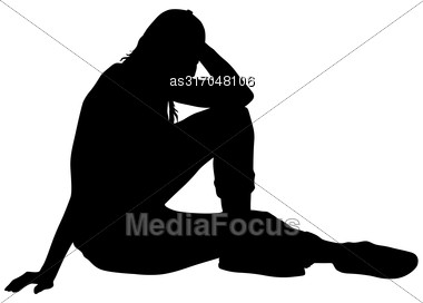 Black Silhouettes Woman Sits Leaning On The Arm On White Background. Vector Illustration Stock Photo