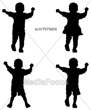 Black Silhouettes Young Children On White Background Stock Photo