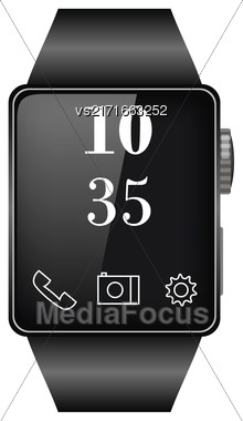 Black Smart Watch Isolated On White Background Stock Photo