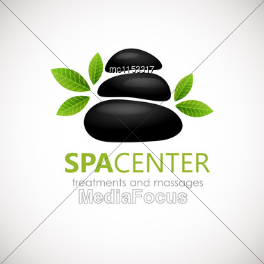 Black Spa Stones With White Frangipani Flowers Logo Design. Can Be Used For Spa, Yoga, Massage Center,wellness, Beauty Salon And Medicine Company Stock Photo
