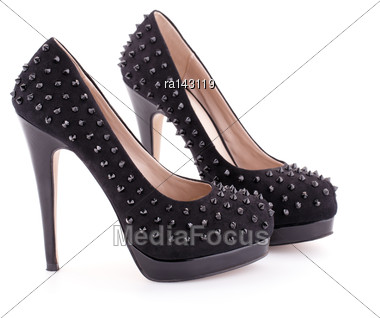 Black Spiked Shoes Isolated On White Background Stock Photo