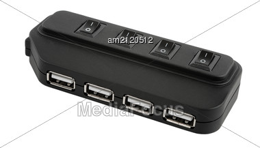 Black USB Hub Device Stock Photo