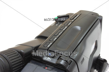 Black Videocamera With Buttons And Switches Stock Photo
