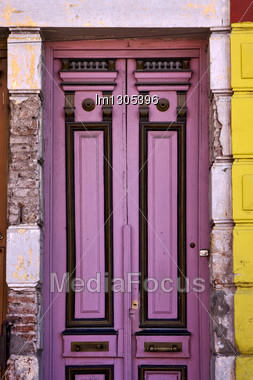 Black Violet Wood Old Door In The Centre Of La Boca Buenos Aires Argentina Stock Photo