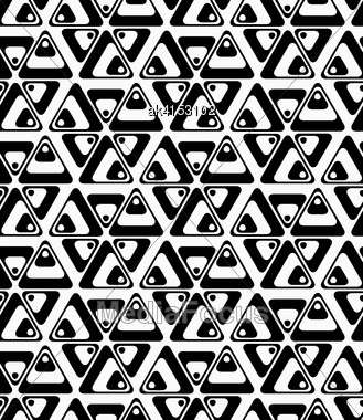Black And White Rotated Triangles.Seamless Stylish Geometric Background. Modern Abstract Pattern. Flat Monochrome Design Stock Photo
