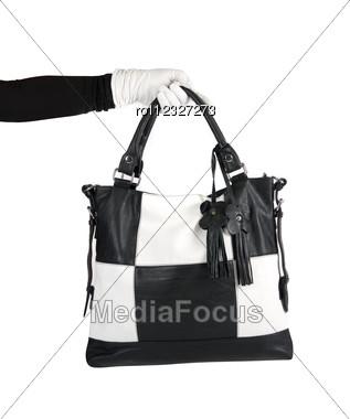 Black And White Women Bag At Hand Stock Photo
