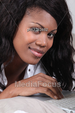 Black Woman Doing Computer Stock Photo