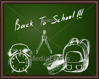 Blackboard With Back To School Title And Sketch Drawing Stock Photo