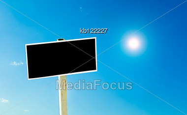 Blackbord Lablel In Sky With Sun Daylight Time Stock Photo