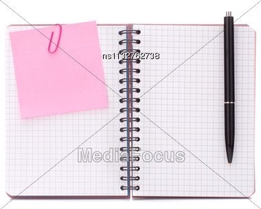 Blank Checked Notebook With Notice Paper Isolated On White Background Cutout Stock Photo