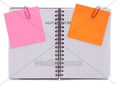 Blank Checked Notebook With Notice Papers Isolated On White Background Cutout Stock Photo