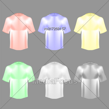 Blank Colorful Cotton T Shirt Isolated On Grey Blurred Background Stock Photo