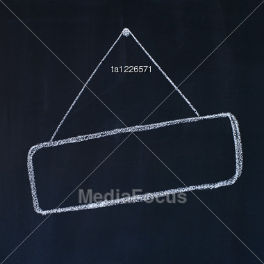Blank Frame On A Blackboard, Chalk Drawing Stock Photo
