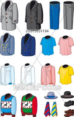 Blank Men's Wear. Business, Casual And Sports Clothing Stock Photo
