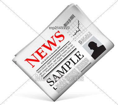 Blank Newspaper With Perforated Edges And Texture On White Background. Vector Illustration Stock Photo