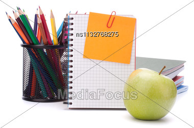 Blank Notebook Sheet And Apple. Schoolchild And Student Studies Accessories. Back To School Concept Stock Photo