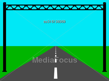 Blank Road Sign On The Road. Vector Illustration Stock Photo