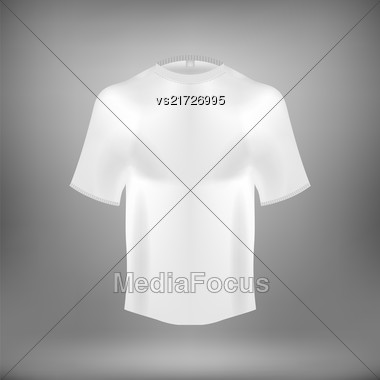 Blank White Cotton T Shirt Isolated On Grey Blurred Background Stock Photo